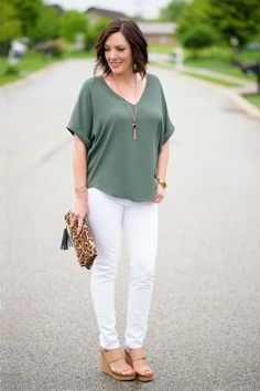 Spring Outfit Ideas: Lush Cuff Sleeve Woven Tee with DL1961 Florence white skinny jeans and Tory Burch Lexington Wedge Sandals