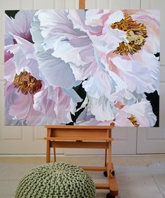 CHINOISERIE $3,950 120 x 90cm. Deep Edge Canvas (3.5cm) Acrylics with Oil Glaze.Pale pink Japanese Tree Peonies.