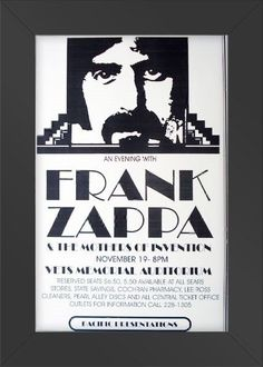 11x17 Concert Poster Frank Zappa Mothers of Invention Framed or Un-Framed