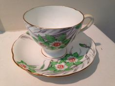 Vintage Gladstone Tea Cup and Saucer Green by TheDaintyBullet, $32.00