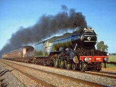 """Flying Scotsman"" steam train of the British East Coast Main Line. Train Art, By Train, Train Tracks, Bus Und Bahn, Old Steam Train, Flying Scotsman, Steam Railway, Bonde, Old Trains"