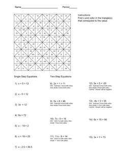 Solving Equations Color Worksheet Middle School Math