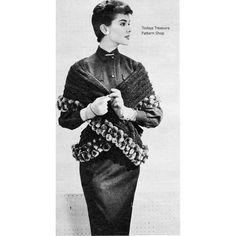 Vintage Crochet Stole Pattern with Ball Fringe l  Vintage Knit Crochet Pattern Shop