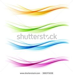 set of abstract color wave smoke transparent blue pink orange green wavy design purple