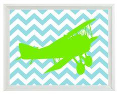 Vintage Airplane Nursery Chevron Art Print - Boy Room Biplane Lime Green Aqua - Wall Art Home Decor 8x10 Print. $15.00, via Etsy.