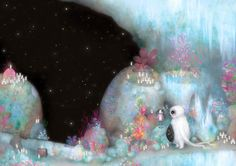 Click to enlarge illustration: Crystal Cave 3 - Fantasy Space Scene - Childrens Books - Whimsical
