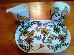 """Two coffee cups painted set """"Birds""""/ Set 2 ceşti cafea pictate """"Păsări """" Coffee Set, Coffee Cups, Greek Pattern, Ceramic Angels, Painted Cups, Flower Stands, On October 3rd, Paint Set, Cupping Set"""