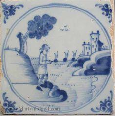 London delft tile, circa 1750