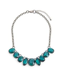 Mad World Necklace gorgeous emerald colored stones and hematite chain. dress up or dress down
