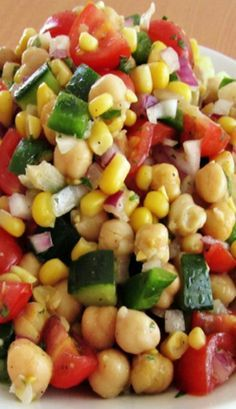 Corn and Chickpea Fiesta Salad with Cilantro-Lime Vinaigrette--Great for lunch or side for dinner!