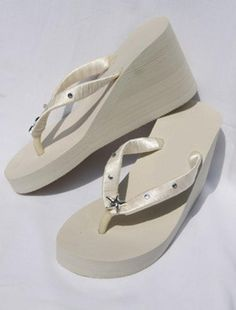 a9ed2180de1447 SALE - Bridal Ivory Wedge Flip Flops or White Flip Flops with Starfish and  Rhinestones Design