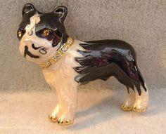 $16.95~~Just adorable!!!!  New Enamel & Crystal Boston Terrier Puppy DOG in Rhinestone Collar PIN Pendant