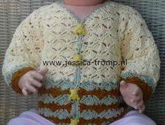 Gehaakt babyvestje, haakschema's om een baby vest te haken. #Nederlandstalig #English http://www.jessica-tromp.nl/baby_patterns_patronen/baby%20cardigan%20pattern%20crocheted.htm