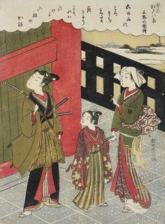 Evening Bell at Ueno. Woodblock print, 1768, Japan, by artist Suzuki Harunobu