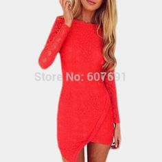 Free Shipping 2014 LOVEGIRL Irregular stitching lace dress sexy red dress FT1362