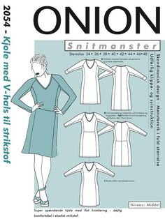 Onion 2054 Dress with v-neck for knits V Neck, Sewing, Knitting, Onion, Dresses, Couture, Sewing Techniques, Vestidos, Dressmaking