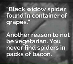 So true! Never going to find a spider in a pack of bacon! Hahahahaha.