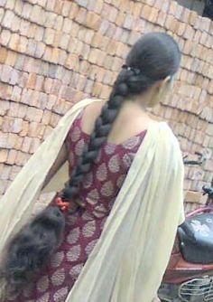 Indian Braids, Indian Long Hair Braid, Braids For Long Hair, Hair Photo, Braided Hairstyles, Sari, Long Hair Styles, Beautiful, Fashion