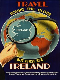 TRAVEL-IRELAND-GLOBE-MAP-LOOKING-GLASS-WORLD-ISLAND-ART-PRINT-POSTER-BB7543B