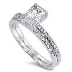 A Perfect 1.5CT Emerald Cut Russian Lab Diamond Bridal Set