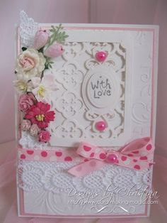 Stylish Pink and White Card by CardMakingMagic on Etsy, Spellbinders Cards, Arts And Crafts, Diy Crafts, Flower Cards, Homemade Cards, Your Design, Beautiful Flowers, Card Making, Frame