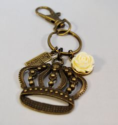 Keychain/Bag DangleBronze Crown Believe by theOCDcrafter on Etsy, $7.50