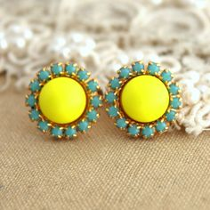Stud earring Neon yellow and Turquoise  - 14 k plated gold post earrings real swarovski pearls. So excited to wear these for my sister inlaws wedding.