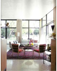 like the rug, the modern feel, the chairs- casual and elegant