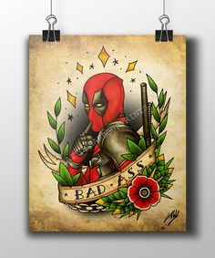 Deadpool Traditional Tattoo Parlour Poster Prints