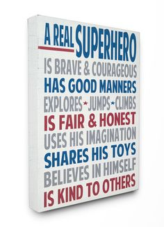 The Kids Room A Real Superhero Wrapped Canvas Wall Art