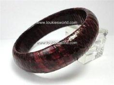 Vintage Burgundy Genuine Snakeskin Bracelet Bangle 60's