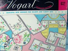 Vintage Vogart 632 Embroidery Transfer Floral by WitsEndDesign