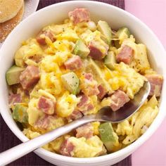Ham and Avocado Scramble Recipe from Taste of Home -- Hearty ham, creamy avocado and a hint of garlic—perfect for breakfast, lunch or dinner. —Elisabeth Larsen, Pleasant Grove, Utah