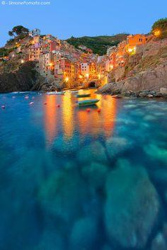 Lights at Riomaggiore, Cinque Terre, Liguria, Italy