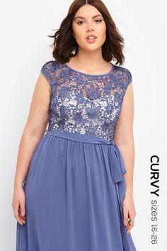 Little Mistress Curvy Lavender Crochet Maxi Dress