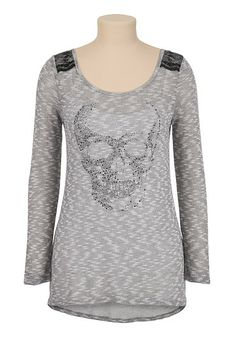 Long Sleeve Embellished Skull Pullover (original price, $26) available at #Maurices