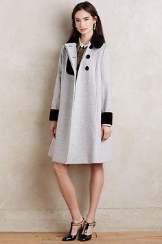 Velvet-Trimmed Wool Coat #anthropologie