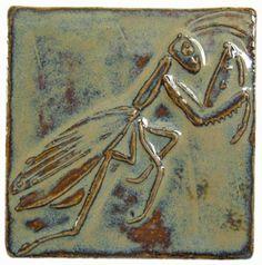 Praying Mantis Art Tile, 3 inches square