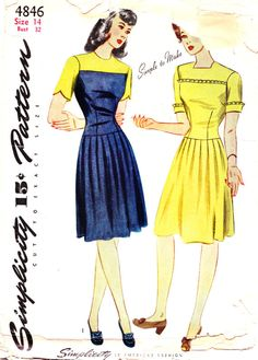 ff6079bc4e39 1940s Bust 32 UNCUT Misses Dress Short Sleeve Scallop Ruffle Pleated Skirt  Yoke Vintage Sewing Patte
