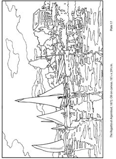 Free Monet Coloring Page | The Regatta at Argenteuil by Monet. CC Cycle 2 Week 16
