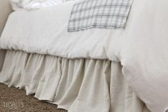Gathered Bed Skirt made from a drop cloth or any fabric of choice. Time saving gathering technique included in tutorial. - by TIDBITS Bed Valance, Curtains, Bedroom Design On A Budget, Bed Organiser, Bedroom Furniture, Bedroom Decor, Dust Ruffle, Ruffles, Plan Design