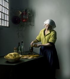 """Inspired by the """"The Milkmaid"""" painting of Johannes Vermeer. Self-portrait of Cynthia, a dutch graphic design student"""