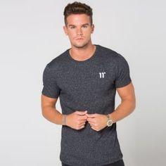 ee86dc6f669 11 Degrees - White Speckle Rib Knit Short Sleeve T-Shirt - Black