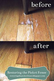 Removing scratches from a wood floor: One part vinegar, three parts cooking oil. Rub in -- no need to wipe off! Hardwood Floor Scratches, Scratched Wood Floors, Hardwood Floor Cleaner, Hardwood Floors, Repair Scratched Wood, Natural Wood Floor Cleaner, Wood Scratches, Furniture Scratches, House Cleaning Tips