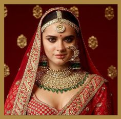 Sabyasachi red bridal lehenga with heritage Sabyasachi jewellery. Indian Bridal Jewelry Sets, Indian Bridal Fashion, Wedding Jewelry, Gold Jewelry, Bridal Jewellery, Gold Necklaces, Diamond Jewellery, Wedding Necklaces, Choker Jewelry
