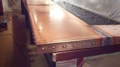 New Custom 24 foot Copper Bar Top made from 72 oz. copper 3 welded field joints (Came out in 4 sections), fully welded corners and about 150 . Copper Bar Top, Wine Tasting Room, Metal Projects, Custom Metal, Heavy Metal, Metal Working, London, Google Search, Image