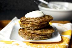 zucchini bread pancakes, maple yogurt by smitten, via Flickr