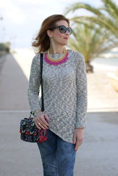 grey cotton sweater, Zara printed bag, Fashion and Cookies