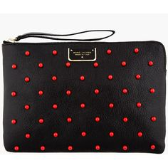MARC JACOBS Black Leather Red-Studded The Deluxe Clutch ($525) found on Polyvore