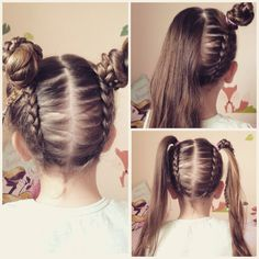 Upside down dutch braid into messy bun pigtails. Little girl / daughters hair.